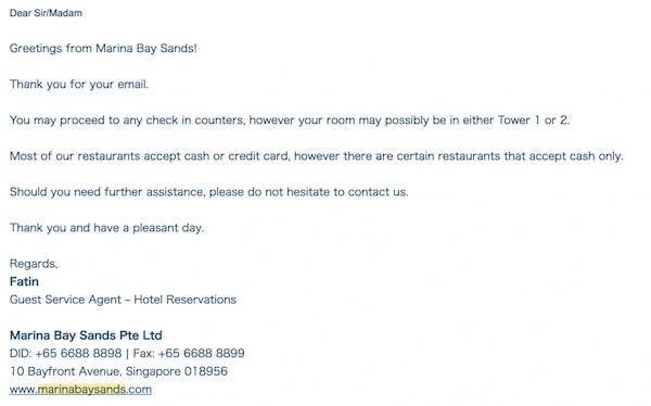 シンガポール マリーナベイサンズホテル 部屋