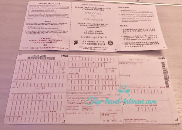 シンガポール チャンギ 空港 入国審査, 入国カード 税関