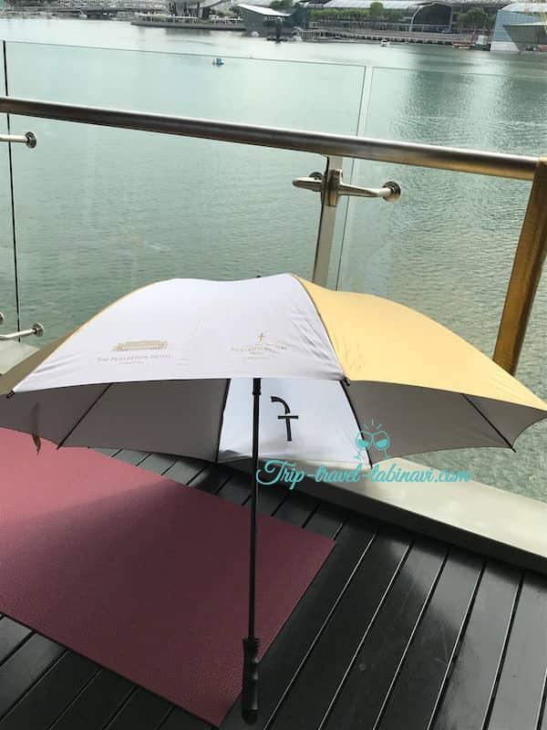 シンガポール フラトンベイホテル 部屋 傘 ヨガマット
